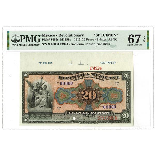 """Gobierno Constitucionalista. 1915. Specimen """"Top Pop"""" Banknote."""