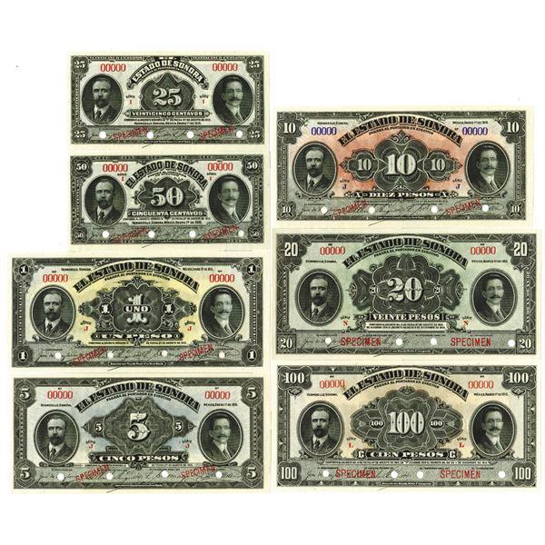 Estado de Sonora. 1915. Lot of 7 Specimen Notes.