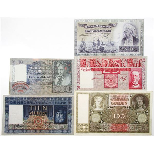 Nederlandsche Bank. 1934-1944. Lot of 5 Issued Notes.