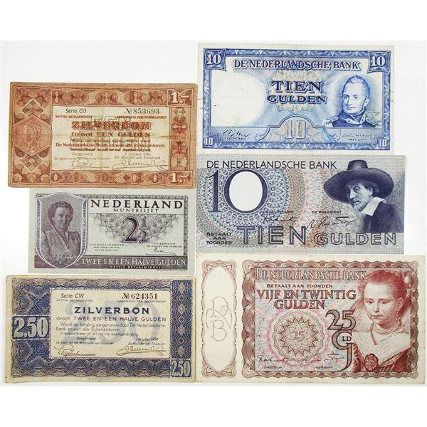 Nederlandsche Bank. 1938-1949. Lot of 6 Issued Notes.
