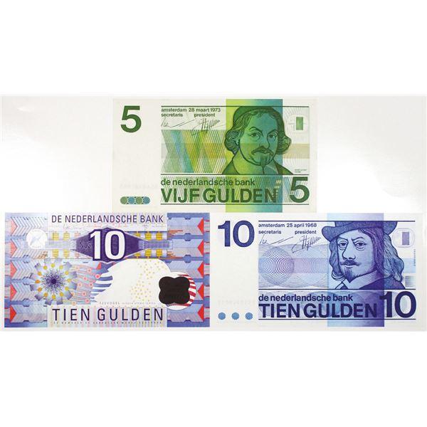 Nederlandsche Bank. 1968-1997. Lot of 3 Issued Notes.