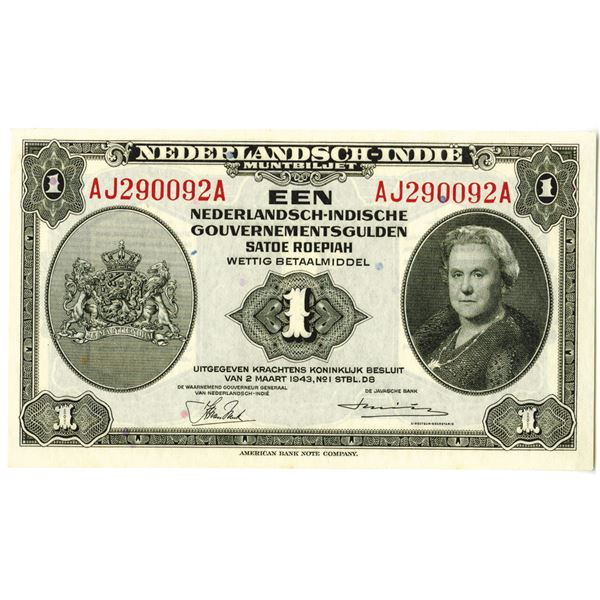 Dutch Government. 1943 Issue Banknote.