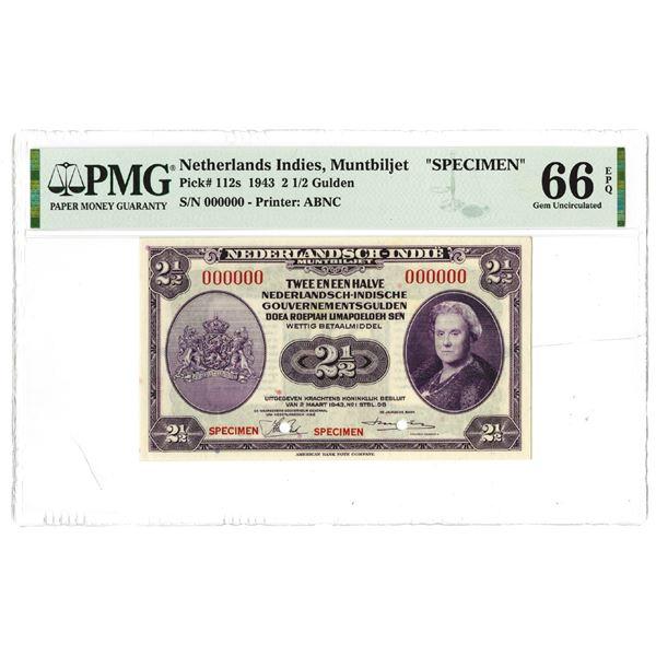 Dutch Government. 1943. Specimen Banknote.