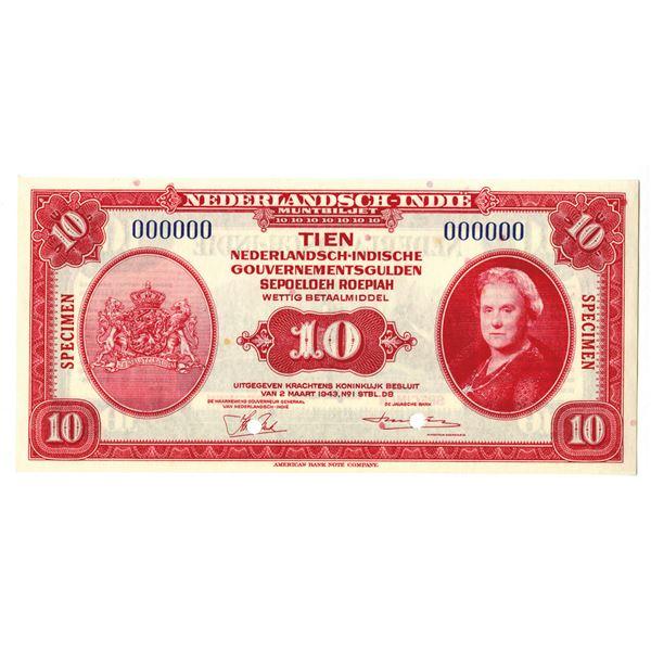 Dutch Government. 1943. 10 Gulden, Specimen Banknote.