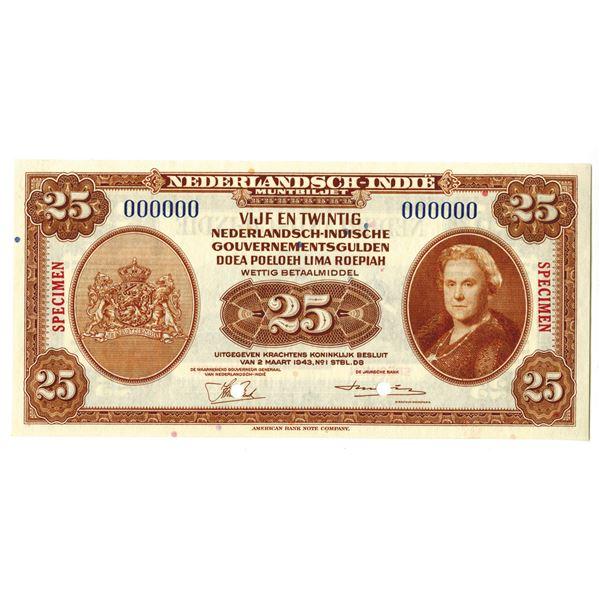 Dutch Government. 1943. 25 Gulden, Specimen Banknote.