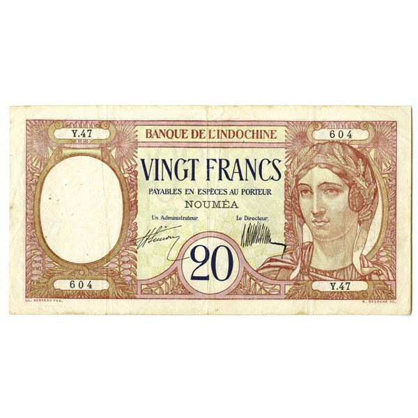 Banque de l'Indochine. ND (ca. 1929). Issued Note.