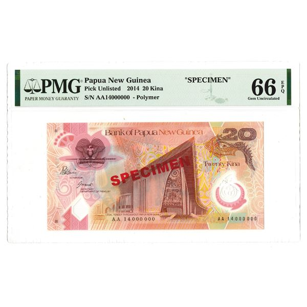 "Bank of Papua New Guinea, 2014 ""20 Kina"" Specimen Banknote"