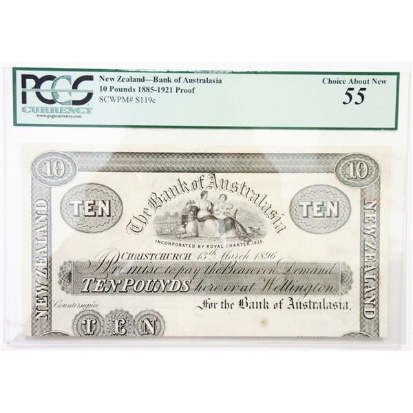 """Bank of Australasia, 13th March 1896, """"Christchurch Branch"""" Proof Banknote Rarity."""