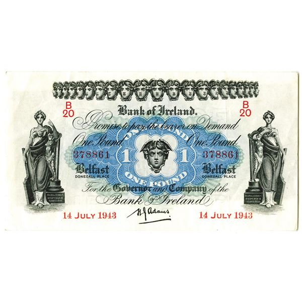 Bank of Ireland. 1943. Issued Note.