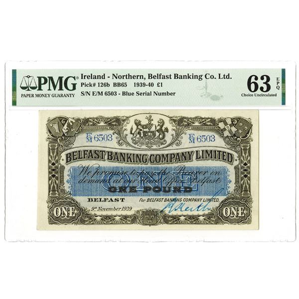 Belfast Banking Co. Ltd.. 1939 Issue Banknote.