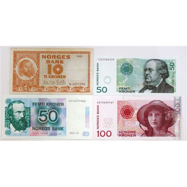Norges Bank. 1961-1999. Lot of 4 Issued Notes.