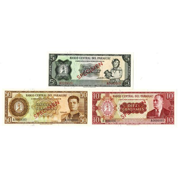 Banco Central del Paraguay. L. 1952 (1960s). Lot of 3 Specimen Notes.
