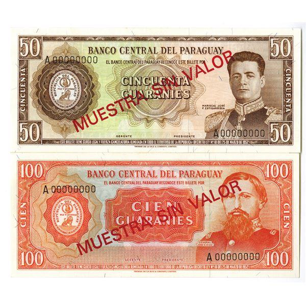 Banco Central del Paraguay. L.1952. Lot of 2 Specimen Notes.