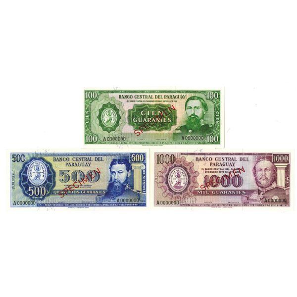 Banco Central del Paraguay. L.1952 (1960s-1970s). Lot of 3 Specimen Notes.