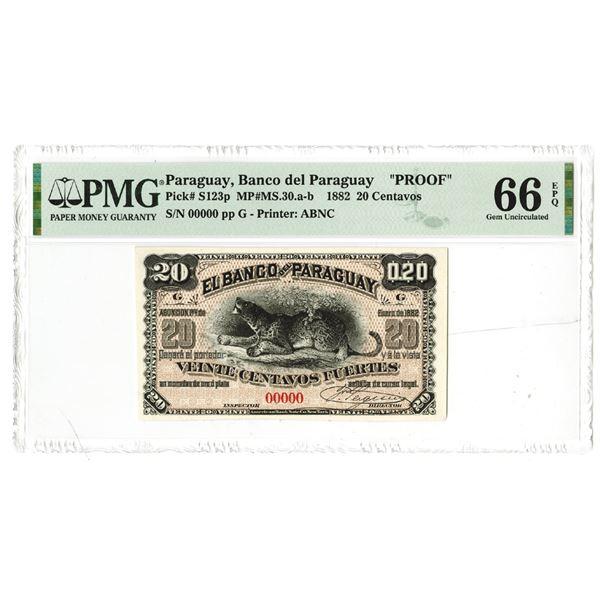 "Banco del Paraguay. 1882. ""Top Pop"" Proof Banknote."