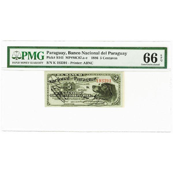 "Banco Nacional del Paraguay. 1886. ""Top Pop"" Issued Banknote."