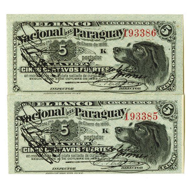 Banco Nacional del Paraguay. 1886. Lot of 2 Issued Notes.