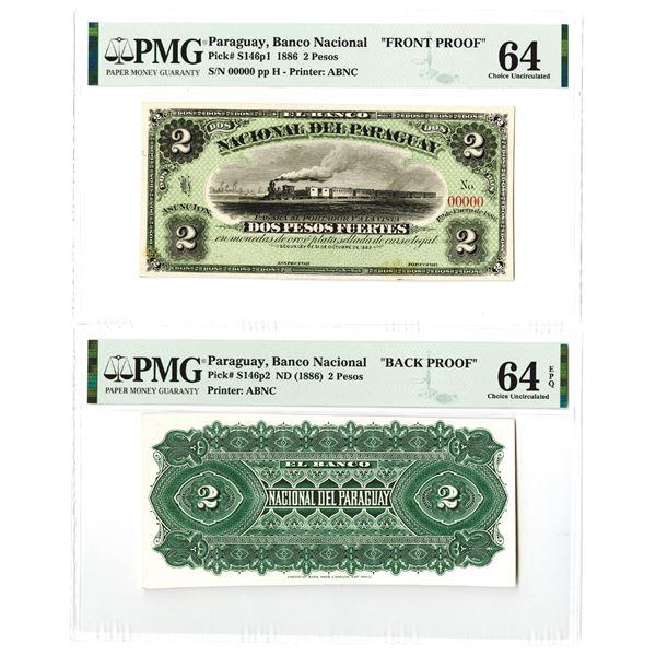 Banco Nacional Del Paraguay, 1886 Proof Face and Back Banknotes.