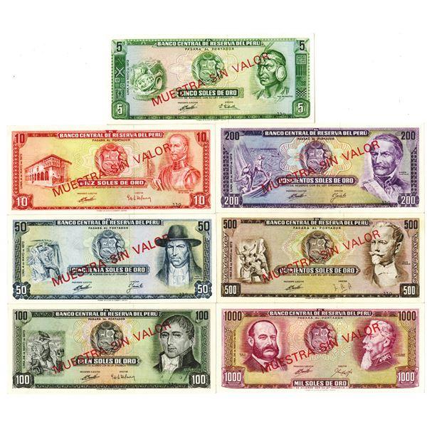 Banco Central de Reserva del Peru. 1972-1973. Lot of 7 Specimen Notes.