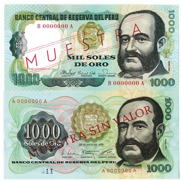 Banco Central de Reserva del Peru. 1976-1981. Lot of 2 Specimen Notes.