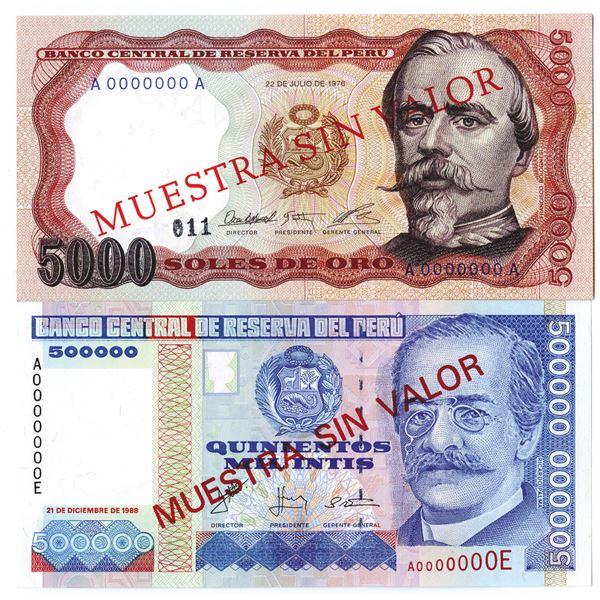 Banco Central de Reserva del Peru. 1976-1988. Lot of 2 Specimen Notes.
