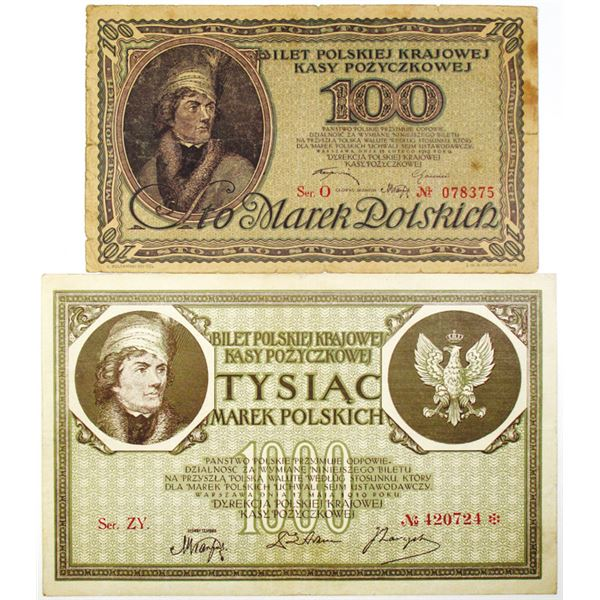 Polska Krajowa Kasa Pozyczkowa. 1919. Lot of 2 Issued Notes.