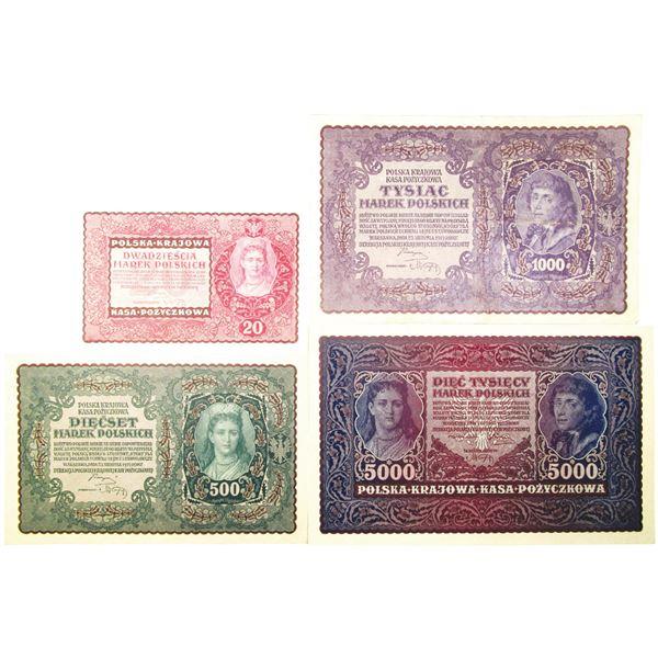 Polska Krajowa Kasa Pozyczkowa. 1919-1920. Lot of 4 Issued Notes.