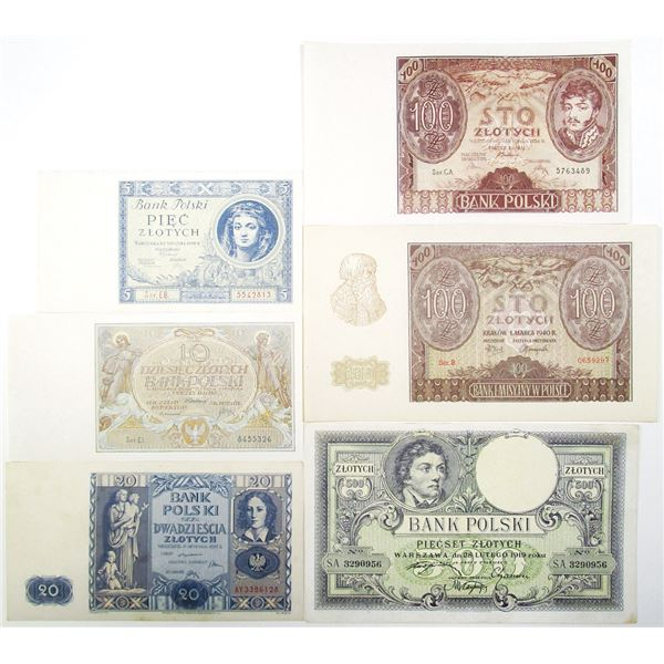 Bank Polski. 1919-1940. Lot of 6 Issued Notes.