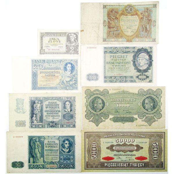 Bank Polski & Bank Emisyiny w Polsce. 1922-1941. Lot of 8 Issued Notes.