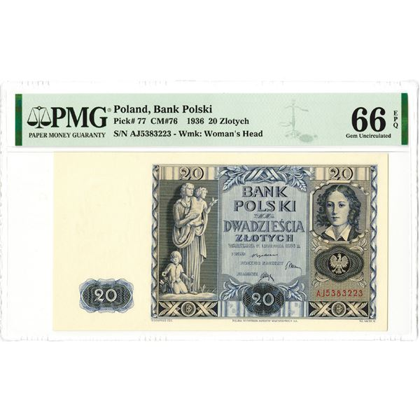 Bank Polski, 1936 Issue Banknote.