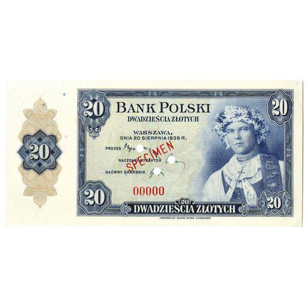 Bank Polski. 1939. 20 Zlotych, Specimen Banknote.