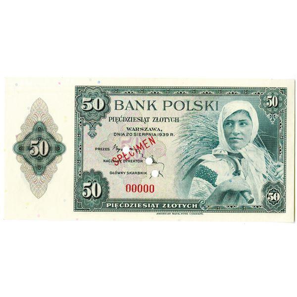 Bank Polski. 1939. 50 Zlotych, Specimen Banknote.