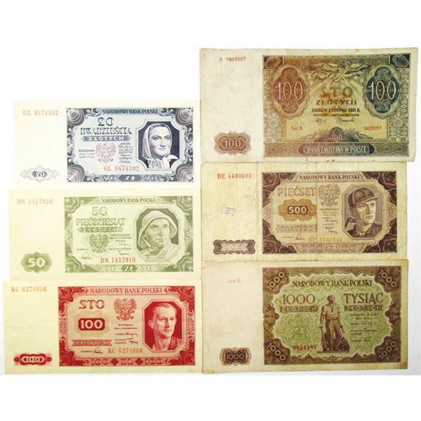 Narodowy Bank Polski. 1941-1948. Lot of 6 Issued Notes.