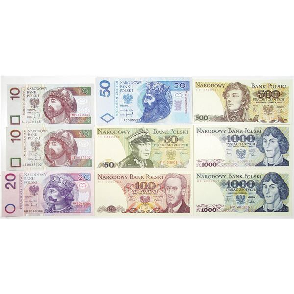 Bank Polski. 1982-1995. Lot of 18 Issued Notes.