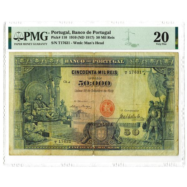 Banco de Portugal, 1910 (ND 1917), Issued Banknote Rarity