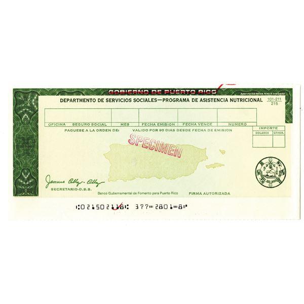 Gobierno De Puerto Rico, Departmento De Servicios Sociales, 1950-70 Specimen.