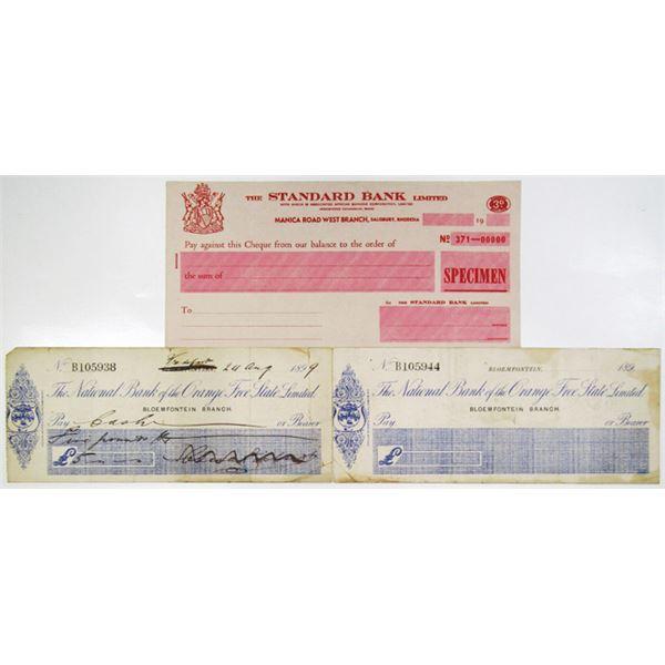 Rhodesia & South Africa Bank Check Trio, ca. 1899-1930s