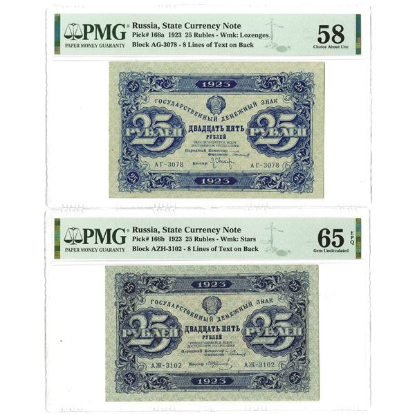 State Currency Note. 1923. Lot of 2 Issued Notes.