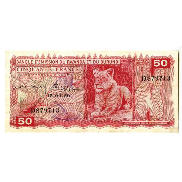 Banque d'Emission du Rwanda et du Burundi. 1960 Issue Banknote.
