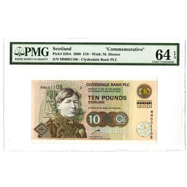 Clydesdale Bank PLC, 2000, 10 Pound Issued Banknote