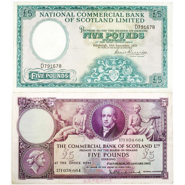 Various Issuers. 1955-1959. Lot of 2 Issued Notes.