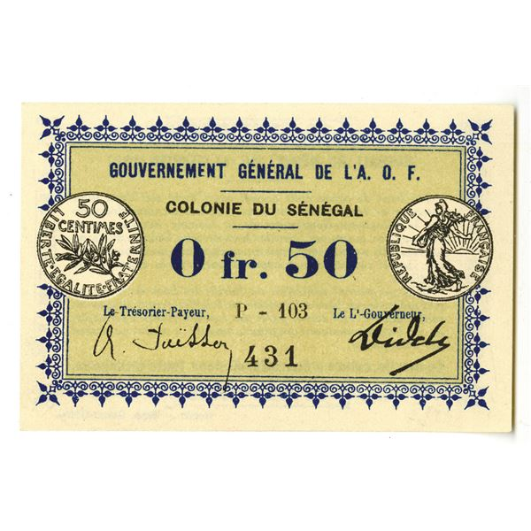 Gouvernement General de L'A.O.F. 1917 Issue Banknote.