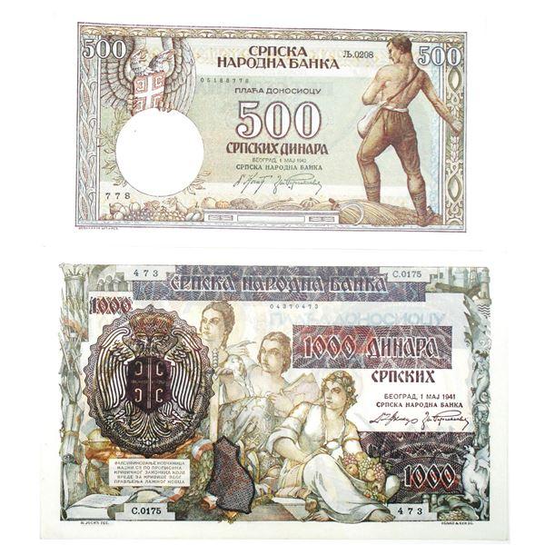 Narodna Banka. 1941-1942. Lot of 2 Issued Notes.