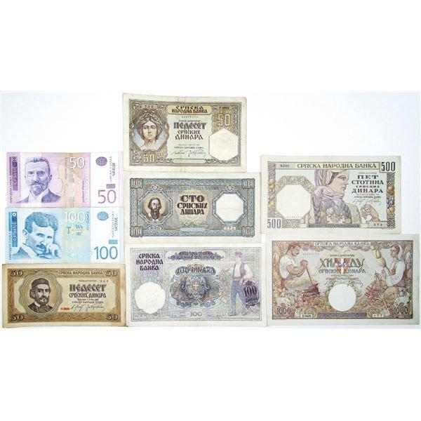 Narodna Banka. 1941-2006. Lot of 8 Issued Notes.