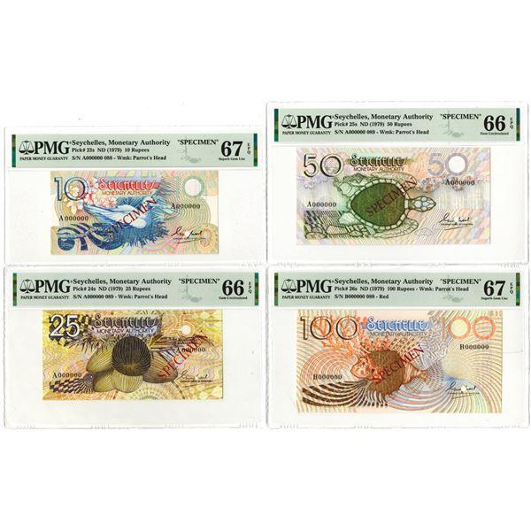 Seychelles Monetary Authority. ND (1979). Lot of 4 Specimen Notes.