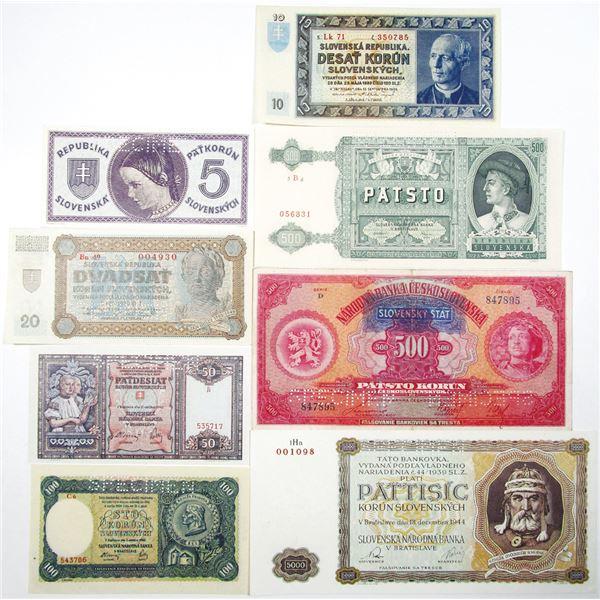 Slovenska Narodna Banka & Republika Slovenska. 1939-1944. Lot of 8 Specimen Notes.