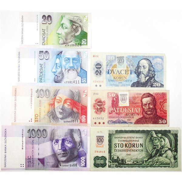 Narodna Banka Slovenska. 1993. Lot of 7 Issued Notes.