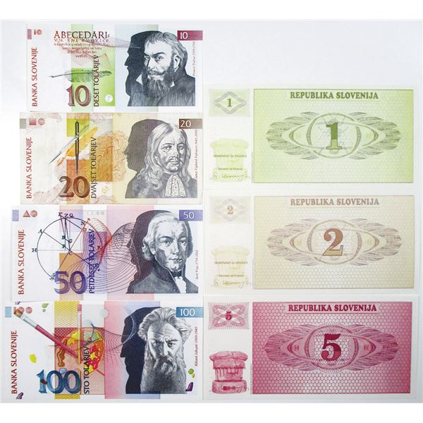 Banka Slovenije. 1990-1992. Lot of 7 Issued Notes.