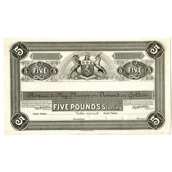 Cape Town, South Africa, African Banking Corp. ca. 1892 Progress Proof Banknote