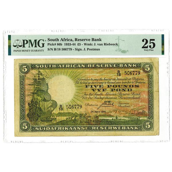 South African Reserve Bank, 1941 Issue Banknote
